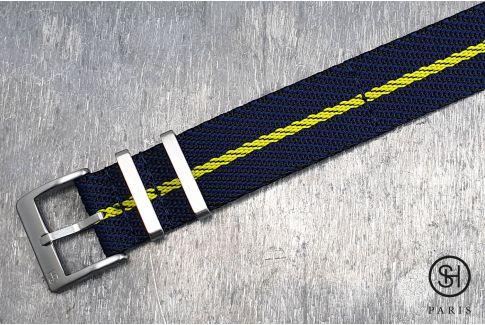 Bracelet montre Nylon Sergé SELECT-HEURE Noir Bleu Jaune