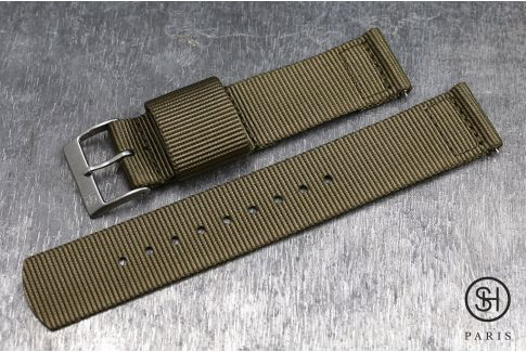 Bronze Brown SELECT-HEURE 2 pieces US Military watch strap with quick release spring bars (interchangeable)