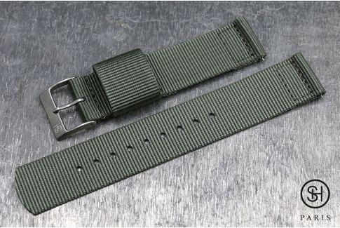 Bracelet montre US Military 2 pièces SELECT-HEURE Gris Vert avec pompes rapides (interchangeable)