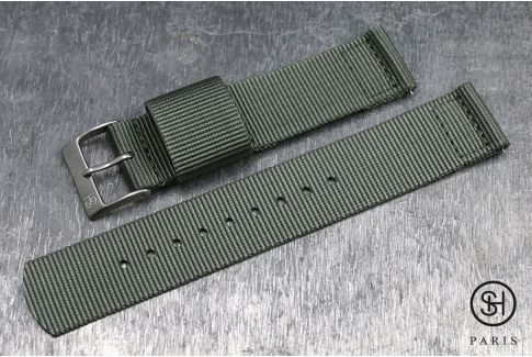 Green Grey SELECT-HEURE 2 pieces US Military watch strap with quick release spring bars (interchangeable)