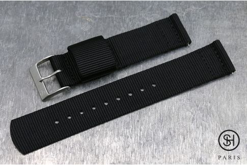 Black SELECT-HEURE 2 pieces US Military watch strap with quick release spring bars (interchangeable)