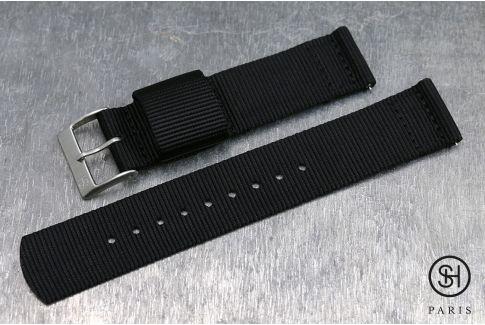 Bracelet montre US Military 2 pièces SELECT-HEURE Noir avec pompes rapides (interchangeable)