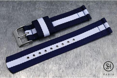 Bracelet montre US Military 2 pièces SELECT-HEURE Bleu Navy Blanc avec pompes rapides (interchangeable)
