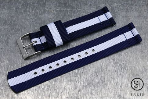 Navy Blue White SELECT-HEURE 2 pieces US Military watch strap with quick release spring bars (interchangeable)