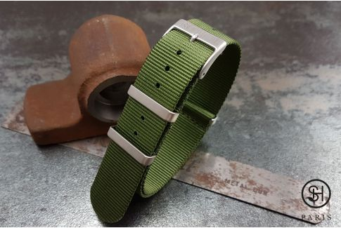 Military Green SELECT-HEURE nylon NATO watch strap, square brushed stainless steel buckles