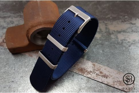 Bracelet montre NATO nylon SELECT-HEURE Bleu Marine, boucles carrées acier inox brossé