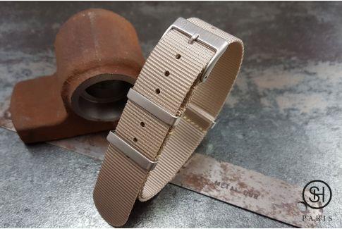 Bracelet montre NATO nylon SELECT-HEURE Beige, boucles carrées acier inox brossé