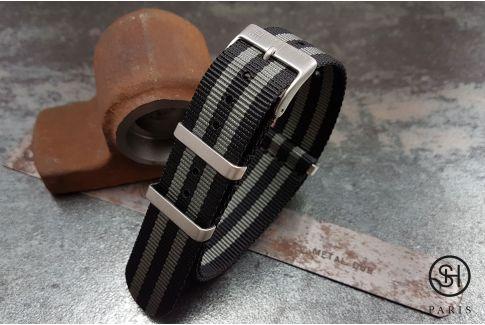 Bracelet montre NATO nylon SELECT-HEURE James Bond Noir Gris (Craig), boucles carrées acier inox brossé