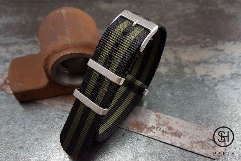 Bracelet montre NATO nylon SELECT-HEURE James Bond Noir Vert Militaire, boucles carrées acier inox brossé