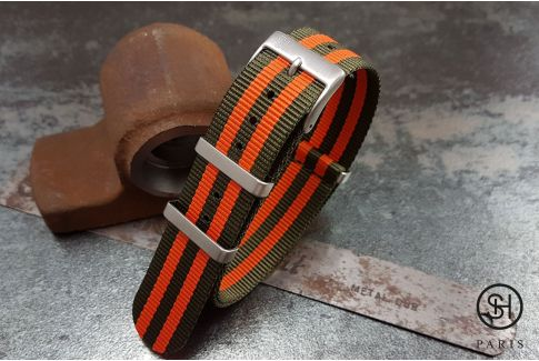 Olive Orange James Bond SELECT-HEURE nylon NATO watch strap, square brushed stainless steel buckles