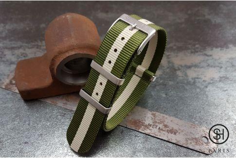 Bracelet montre NATO nylon SELECT-HEURE Vert Militaire Ecru, boucles carrées acier inox brossé