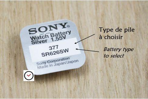 Piles Oxyde d'Argent 1,55V Sony pour montres - tous types (SR... , SR...SW ou SR...W)