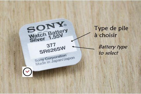 Sony 1.55 V watch batteries, silveroxide - all types (from 301 to 399 - SR... , SR...SW or SR...W)