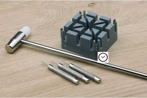 Link pin remover kit to shorten steel watch straps (metal bands)