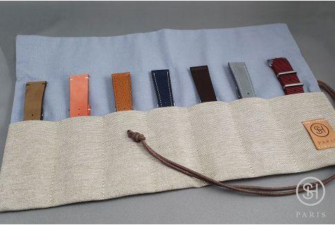 Semainier SELECT-HEURE en toile pour bracelets (à enrouler ou à plier), possibilité accueil 1 montre