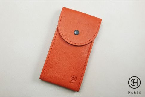 Orange vintage leather SELECT-HEURE watch pouch (handmade in Italy)