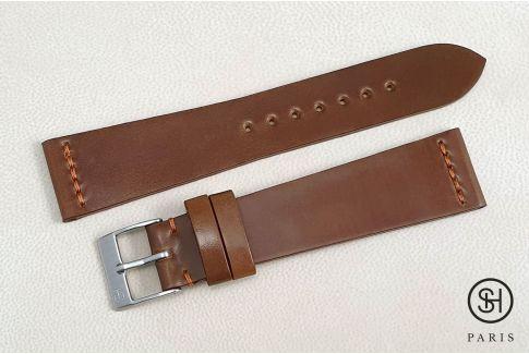 Bracelet montre cuir Horween Shell Cordovan SELECT-HEURE Cognac (fait main)