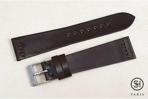 Bracelet montre cuir Horween Shell Cordovan SELECT-HEURE Marron (fait main)