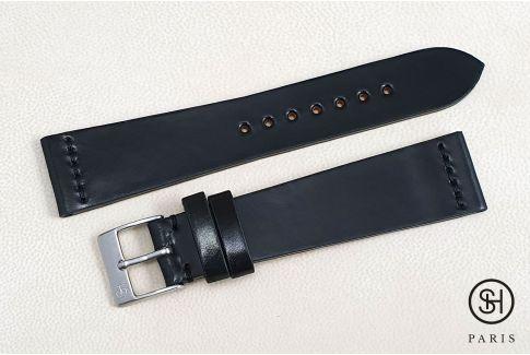 Bracelet montre cuir Horween Shell Cordovan SELECT-HEURE Noir (fait main)
