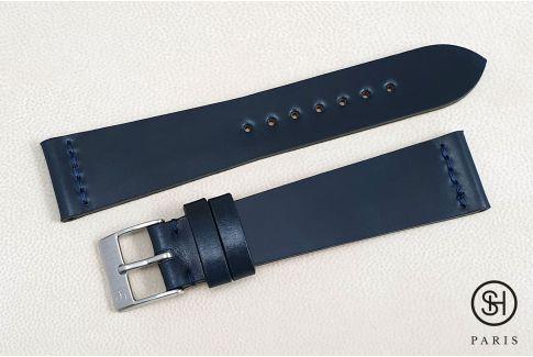 Bracelet montre cuir Horween Shell Cordovan SELECT-HEURE Bleu (fait main)