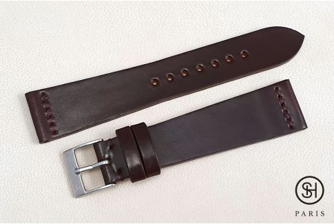 Burgundy Horween Shell Cordovan SELECT-HEURE leather watch strap (handmade)