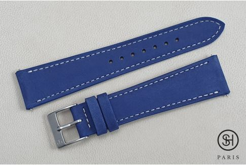 Egyptian Blue Nubuck SELECT-HEURE leather watch strap with quick release spring bars (interchangeable)