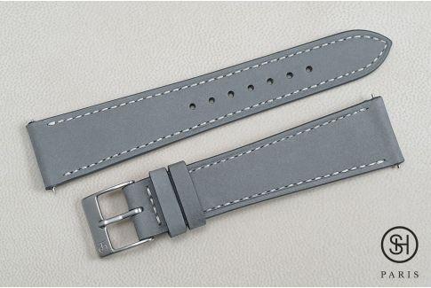 Bracelet montre cuir Nubuck SELECT-HEURE Gris Perle avec pompes rapides (interchangeable)