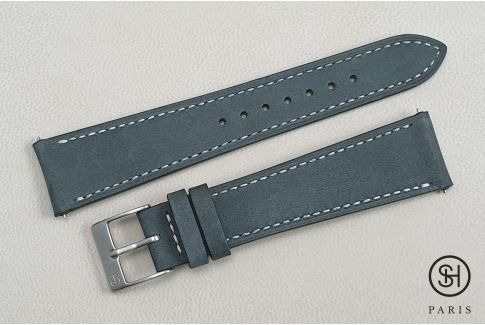 Slate Grey Nubuck SELECT-HEURE leather watch strap with quick release spring bars (interchangeable)