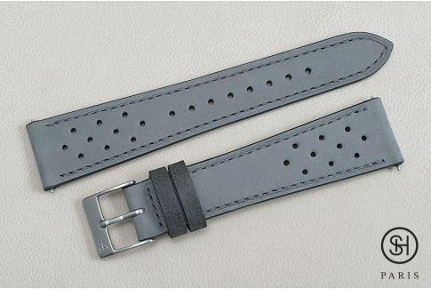 Bracelet montre cuir Nubuck Rallye SELECT-HEURE Gris Perle avec pompes rapides (interchangeable)