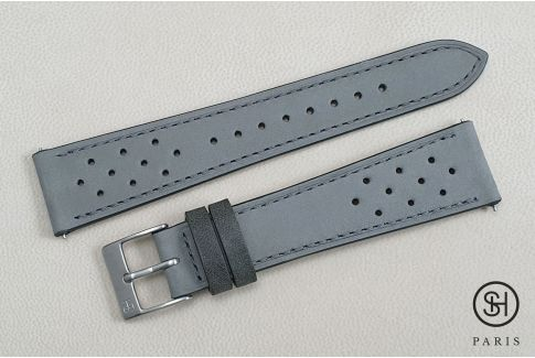 Pearl Grey Rallye Nubuck SELECT-HEURE leather watch strap with quick release spring bars (interchangeable)