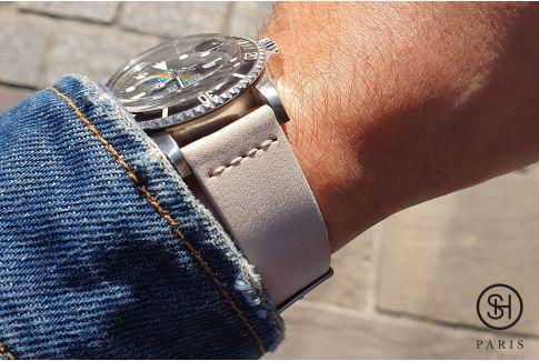 Bracelet montre cuir Nubuck SELECT-HEURE Lin avec pompes rapides (interchangeable)
