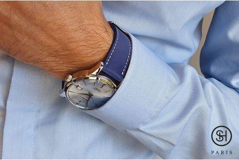 Bracelet montre cuir Nubuck SELECT-HEURE Bleu Egyptien avec pompes rapides (interchangeable)