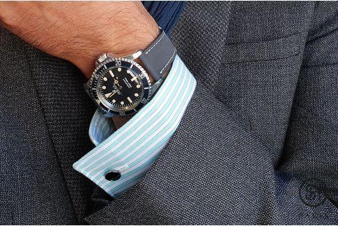 Bracelet montre cuir Nubuck SELECT-HEURE Gris Ardoise avec pompes rapides (interchangeable)