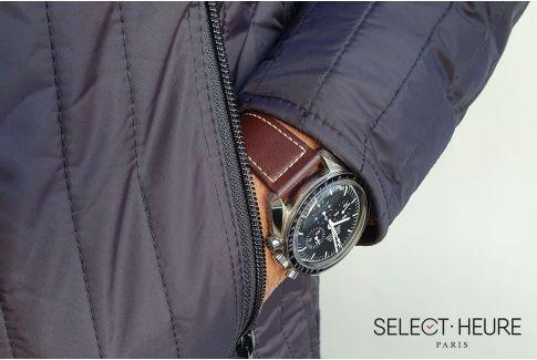 Bracelet montre Veau Baranil SELECT-HEURE Marron coutures écrues, fait main en France, cuir français