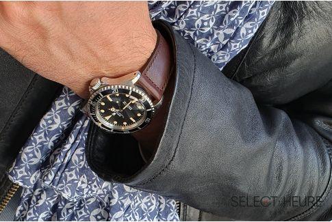 Bracelet montre Veau Baranil SELECT-HEURE Marron coutures ton sur ton, fait main en France, cuir français