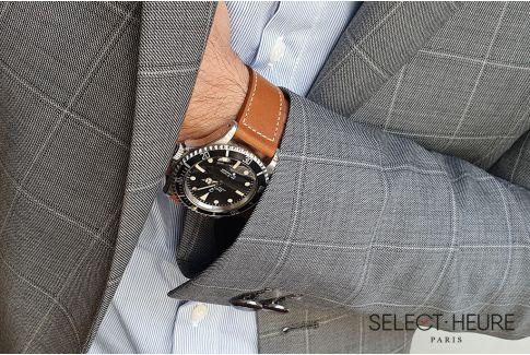 Bracelet montre Veau Baranil SELECT-HEURE Cognac coutures écrues, fait main en France, cuir français