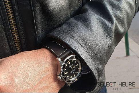 Bracelet montre Veau Baranil SELECT-HEURE Noir Mat coutures écrues, fait main en France, cuir français
