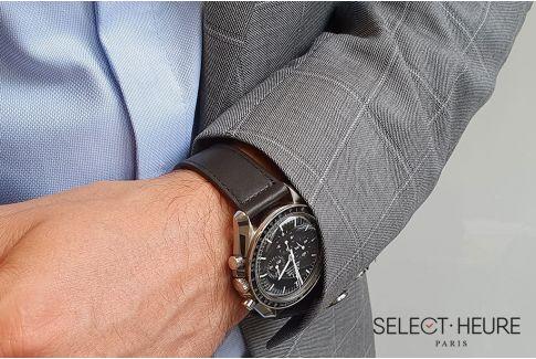 Bracelet montre Veau Baranil SELECT-HEURE Noir Mat coutures ton sur ton, fait main en France, cuir français