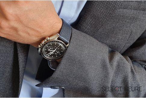 Bracelet montre Veau Grainé SELECT-HEURE Bleu Marine coutures ton sur ton, fait main en France, cuir français
