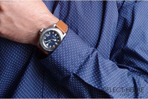 Bracelet montre Veau Grainé SELECT-HEURE Marron Or coutures ton sur ton, fait main en France, cuir français