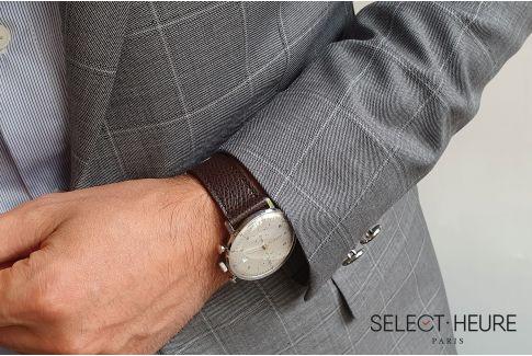 Bracelet montre Veau Grainé SELECT-HEURE Marron foncé coutures ton sur ton, fait main en France, cuir français