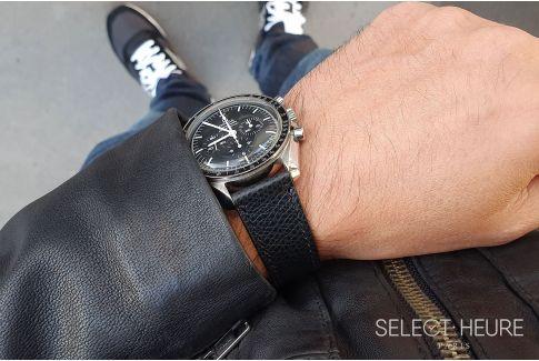 Bracelet montre Veau Grainé SELECT-HEURE Noir coutures ton sur ton, fait main en France, cuir français