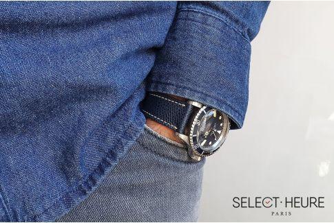 Bracelet montre Veau Grainé SELECT-HEURE Bleu Marine coutures écrues, fait main en France, cuir français