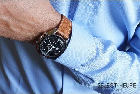 Bracelet montre Veau Grainé SELECT-HEURE Marron Or coutures écrues, fait main en France, cuir français