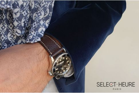 Bracelet montre Veau Grainé SELECT-HEURE Marron foncé coutures écrues, fait main en France, cuir français