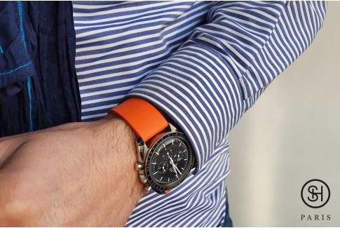 Orange SELECT-HEURE FKM rubber watch strap, quick release spring bars (interchangeable)