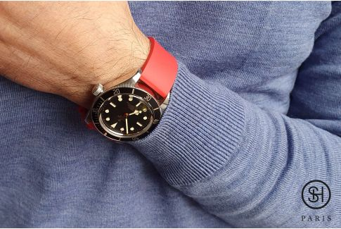Red SELECT-HEURE FKM rubber watch strap, quick release spring bars (interchangeable)