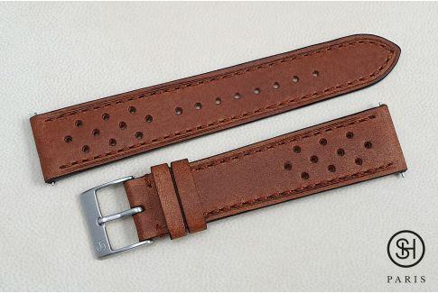 Bracelet montre cuir Rallye SELECT-HEURE Marron Or avec pompes rapides (interchangeable)