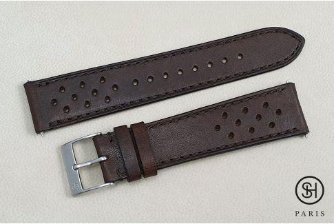 Bracelet montre cuir Rallye SELECT-HEURE Marron Foncé avec pompes rapides (interchangeable)