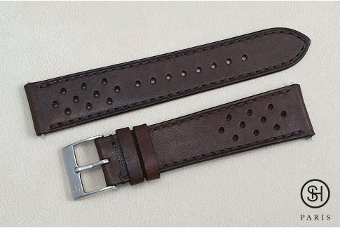 Dark Brown Rallye SELECT-HEURE leather watch strap with quick release spring bars (interchangeable)